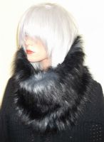 Black and Grey Faux Fur Scarf in Luxurious Long Fur